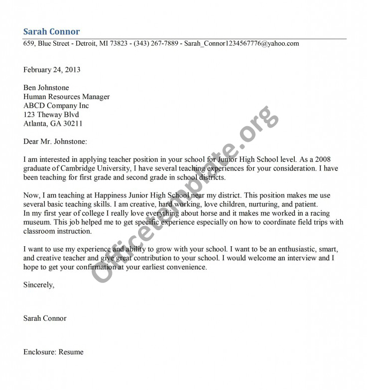 More images   Best cover letter for teaching position    Alib