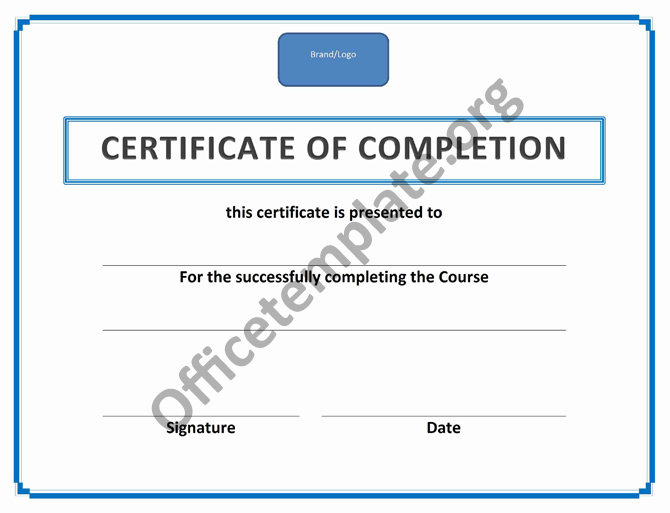Certificate of completion template office templates training certificate of completion yelopaper Image collections