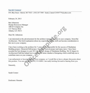 Architect Manager Cover Letter Template