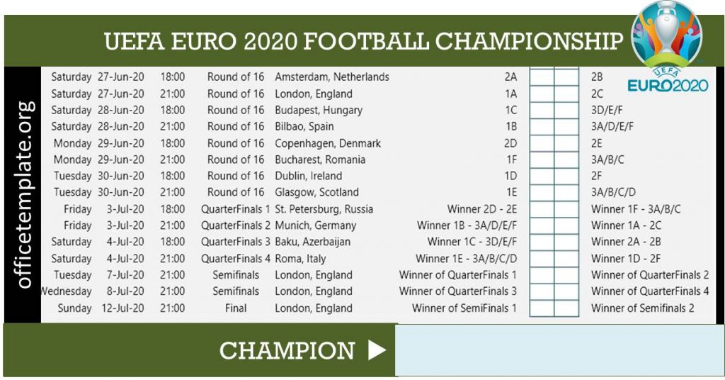 Euro 2020 Football Championship Schedule and Scoresheet Tracker