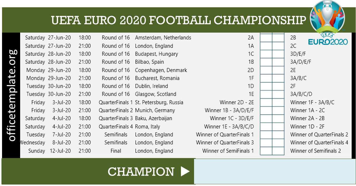Euro 2020 Fixtures and Match Scoresheet